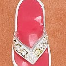 STERLING SILVER 20MM PINK ENAMEL SANDAL CHARM WITH YELLOW CRYSTAL STRAP