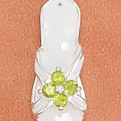 STERLING SILVER 18MM CREAM SANDAL W/ 2MM PERIDOT COLORED CZ FLOWER ON CENTER