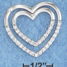 STERLING SILVER CZ DOUBLE OPEN HEART SLIDE PENDANT