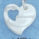 STERLING SILVER HIGH POLISH HEART W/SMALL CUTOUT HEART WITHIN CHARM   **FREE SHIPPING**