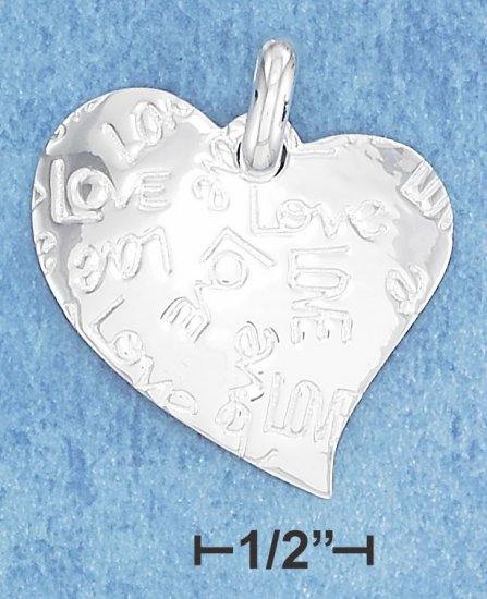 """STERLING SILVER FREEFORM HEART W/ """"LOVE"""" INSCRIBED ALL OVER IT CHARM **FREE SHIPPING**"""