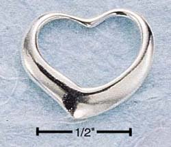 STERLING SILVER SMALL FLOATING HEART CHARM  **FREE SHIPPING**