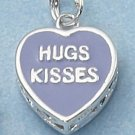 "STERLING SILVER 2 SIDED PURPLE ENAMEL ""HUGS KISSES"" HEART CHARM  **FREE SHIPPING**"