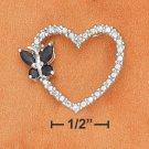 STERLING SILVER OPEN HEART PENDANT W/ SAPPHIRE BUTTERFLY & DIAMOND ACCENTS