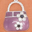 STERLING SILVER 19MM PURPLE ENAMEL PURSE CHARM W/ CLEAR CRYSTAL