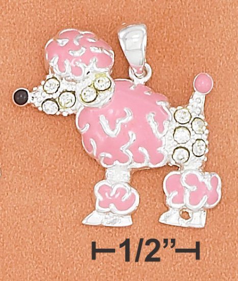 STERLING SILVER PINK ENAMEL  POODLE CHARM W/ BLACK NOSE & CRYSTAL ACCENTS **FREE SHIPPING**