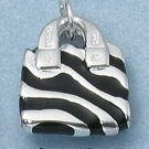 STERLING SILVER ENAMEL BLACK ZEBRA STRIPE PURSE W/ CZ HANDLE CHARM