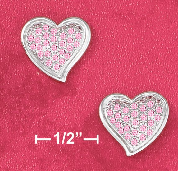 STERLING SILVER PINK PAVE CZ HEART POST EARRINGS