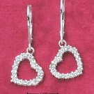 STERLING SILVER ROUND CLEAR CZ OPEN HEART DANGLE LEVERBACK EARRINGS  **FREE SHIPPING**