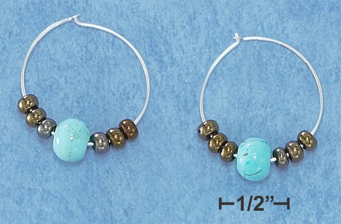 STERLING SILVER TURQUOISE AND BROWN BEAD HOOP EARRINGS **FREE SHIPPING**