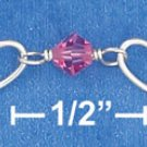 STERLING SILVER  HEART & PINK CRYSTAL CHILD'S BRACELET W/ PUFF HEART DANGLE  **FREE SHIPPING**