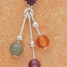 STERLING SILVER AMETHYST TRIPLE DANGLE AMBER, AVENTURINE, & AMETHYST EARRINGS
