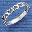 STERLING SILVER ALTERNATING OPEN HEARTS BAND RING