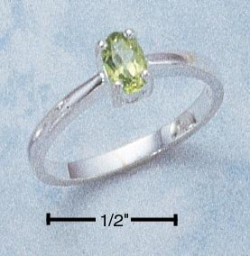 STERLING SILVER 6X4 OVAL PERIDOT RING **FREE SHIPPING**