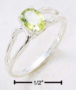 STERLING SILVER 5x7MM OVAL PERIDOT SCROLLED LOOP RING **FREE SHIPPING**