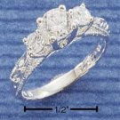 STERLING SILVER CZ W/ DOUBLE SIDE CZ & ETCHED BAND