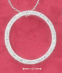 """STERLING SILVER 16"""" CONTINUOUS CZ OPEN CIRCLE NECKLACE"""