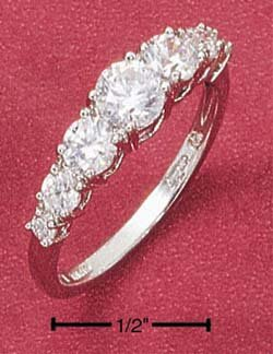 STERLING SILVER 7 STONE ROUND GRADUATED CZ  RING **FREE SHIPPING**