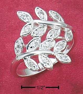 STERLING SILVER WRAP AROUND RING W/ LEAVES & ROUND CLEAR CZ ACCENTS