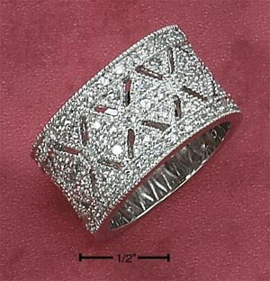 STERLING SILVER CZ PAVE BAND W/ CUT- OUTS