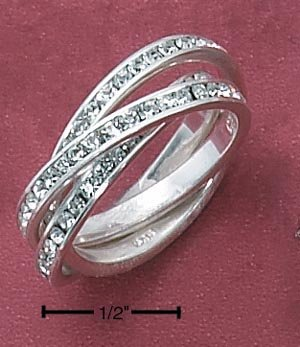STERLING SILVER 3 BAND CLEAR CZ ETERNITY SLIDE RING  **FREE SHIPPING**