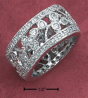 STERLING SILVER 12MM PAVE CZ FILIGREE BAND **FREE SHIPPING**