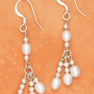 STERLING SILVER WHITE FRESH WATER PEARL TRIPLE DANGLE EARRINGS