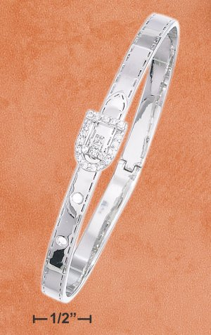 STERLING SILVER CZ ACCENTED BELT BUCKLE BANGLE **FREE SHIPPING**