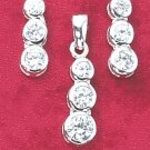 STERLING SILVER TRIPLE CZ EARRINGS & PENDANT SET **FREE SHIPPING**
