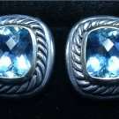 Authentic DAVID YURMAN Blue Topaz Earrings 925 Silver 585 14k Gold Clip-on