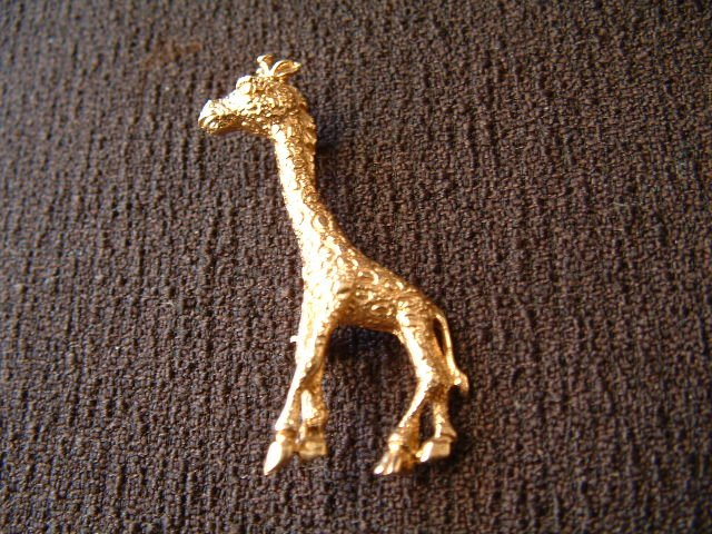 "14k Gold Vintage Giraffe Pin Brooch Figural, Stamped, 1.75"" 5.6g"