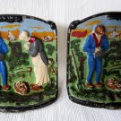 Antique Bookends Angelus Call to Prayer Handpainted Cast Iron