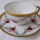Antique HAVILAND China 1908 Handpainted Cup & Saucer White Pink Red Floral Garland