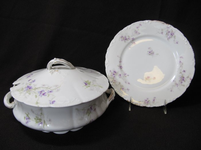 Antique LIMOGES China Lidded Tureen and Plate White Purple Floral 3472