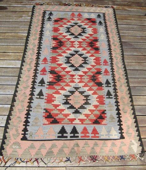 Vintage Anatolian Slit Tapestry Handmade Oriental Rug Wool 4x6