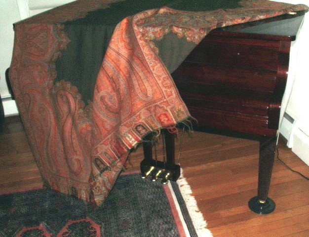 Antique Kashmir Paisley Piano Shawl Red Black Gold Large 5x10 Feet