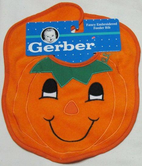 Gerber Pumpkin Face Embroidered Baby Feeder Bib 11 x 9 In