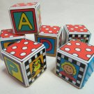Colorful Fun Plastic Baby Blocks Set of Six 2x2x2 Inches