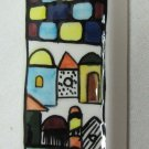 Mezuzah Ceramic Colorful Rooftops and Wall Motif 4 x 1.25 Inches
