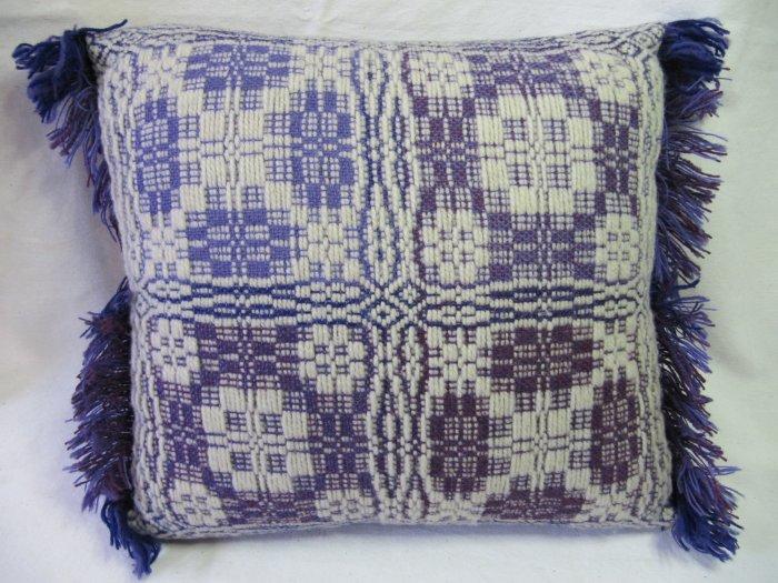 PENOBSCOT Handwoven Pillow Overshot Geometric Violet Purple 15x15 Fringed