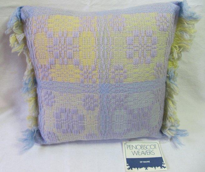 PENOBSCOT Handwoven Pillow Overshot Geometric Lavender Yellow 14x14 Fringed