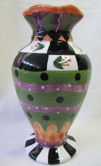 GANZ Bella Casa Handpainted Vase Blk Wht Grn Orange 9 In