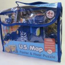 ACTIVE MINDS U.S. Map Floor Puzzle and Poster in Clear Carrying Pouch