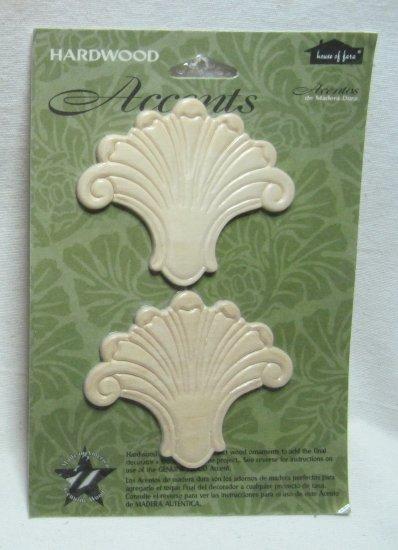 Hardwood Wood Accents Ornamental Birch Shell Fleur de Lis Pieces 3 Inches