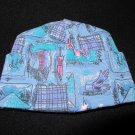 BABY SACKS Beverly Hills Infant Hat Cap Blue Pink Print NWT