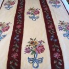 Vintage Handmade Crochet Afghan Spread Wool Cream Floral