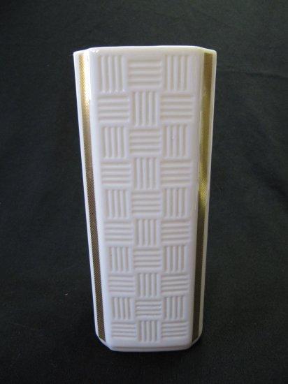 Vintage LENOX China Vase Cream Gold Trim Square Retro 6 In