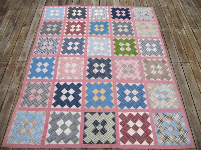 Antique Handmade Patchwork Quilt Spread 1920s 5x6 Pink Multicolored