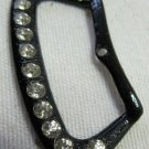 Vintage Rhinestone Studded Black Metal Buckle Button 1.75 In