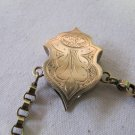 Antique Victorian Gold Plated Slider Engraved Floral Design 1.5 In